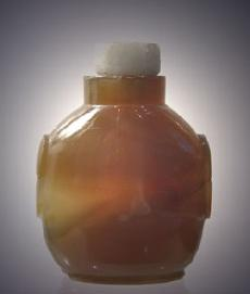Banded Agate Antique Chinese Snuff Bottle Reverse