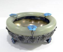 Antique Chinese Export Silver Filigree Jade-Mounted Bracelet Bowl - Alternate View