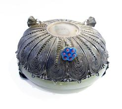 Antique Chinese Export Silver Filigree Jade-Mounted Bracelet Bowl - Bottom View