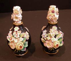 Pr. 19th c. Jacob Petit Black-Ground Flower-Encrusted Scent Bottles and Stoppers - Side View 1