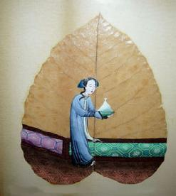 Antique Chinese Export Leaf Painting of Lady