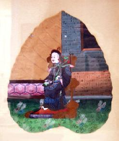 Antique Chinese Export Leaf Painting of a Mandarin