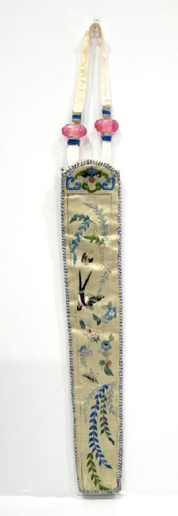 Antique Chinese Silk Embroidered Fan Case -Qing