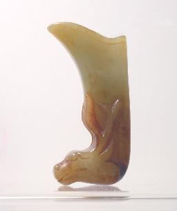 Brownish Chinese Jade Rhyton Cup Side View