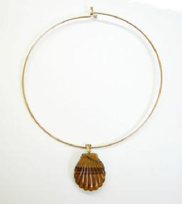 Vintage Tiger-eye Shell-form Pendant with Bale on Choker