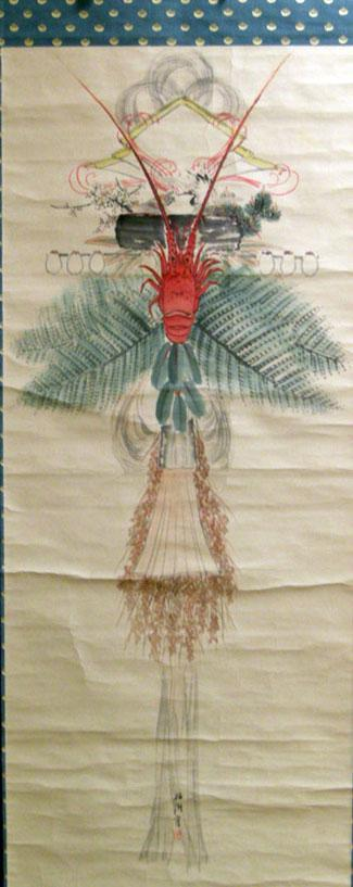 Large Antique Japanese SHIME-KAZARI (Sacred Straw Festoon) Hanging Scroll with Crawfish - Closeup View