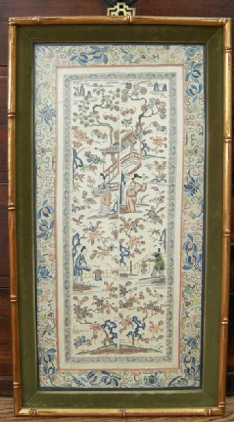 Pair Antique Chinese Embroidered Sleevebands in Bamboo Frame