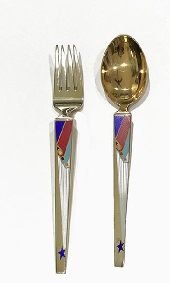 A. Michelsen Sterling Silver/Enamel Christmas Fork and Spoon-Wise Men From the East-1958