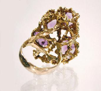 18K Yellow Gold Amethyst/Pearl/Tourmaline/Spinel Dinner Ring - Interior View
