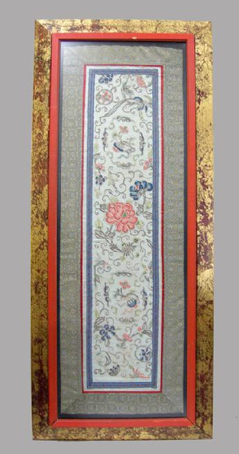 Beautiful Antique Chinese Silk Enbroidered Panel - Qing - Framed with Double Wood Frame2