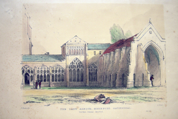 Antique English Print The Lady Arbour Hereford Cathederal