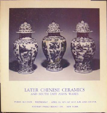 Sotheby's Auction Catalogue Later Chinese Ceramics SE Asian Wares