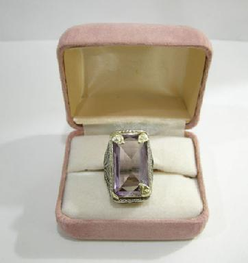 Art Nouveau 18K White and Yellow Gold  Amethyst 'Belais' Ring