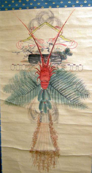 Large Antique Japanese SHIME-KAZARI (Sacred Straw Festoon) Hanging Scroll - Crawfish Closeup
