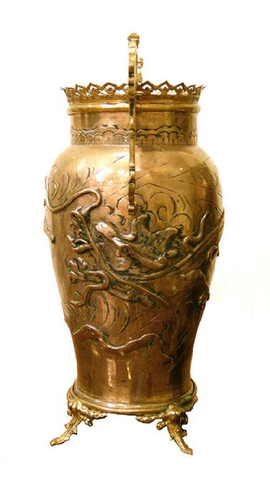Antique French Figural Bronze Brass Empire Style Door