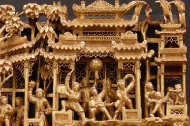 Chinese Gilt Lacquer Wood Carving Closeup1