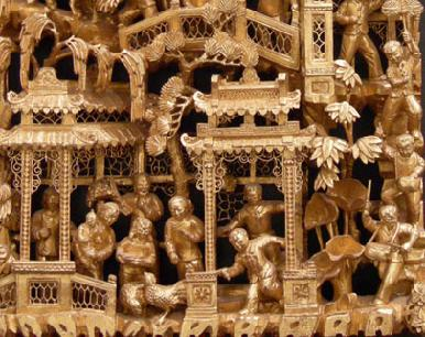 Chinese Gilt Wood Lacquer Carving Closeup2