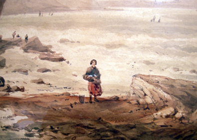 19th c. British School Coastal Painting Closeup by George Vawser
