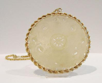 14k Yellow Gold and Antique Jade Pendant Closeup View