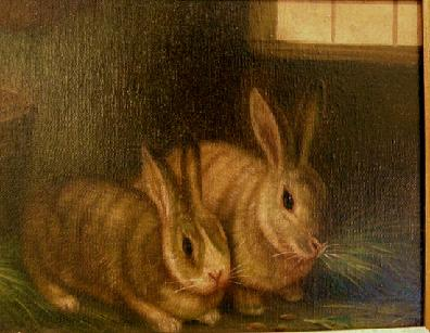 Oil Painting on Canvas of Two Rabbits Closeup