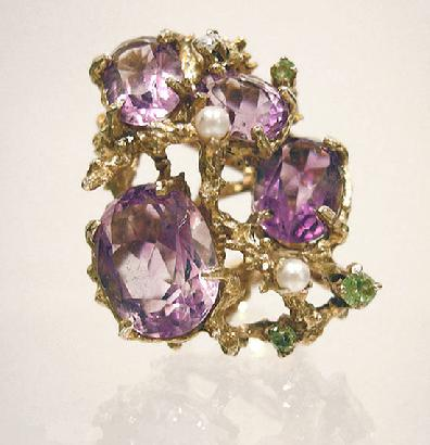18K Yellow Gold Amethyst/Pearl/Tourmaline/Spinel Dinner Ring