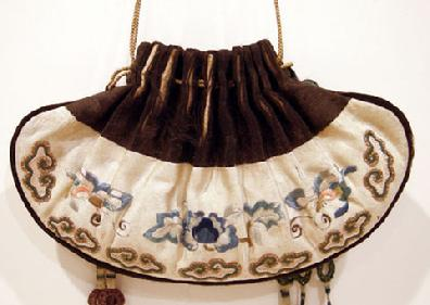 Qing Dynasty Embroidered and Couched Drawstring Purse - Signed - Reverse View Closeup