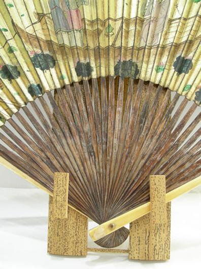 Antique Chinese Silk Embroidered Fan Case and Gold Fan - Qing - Closeup of Sticks