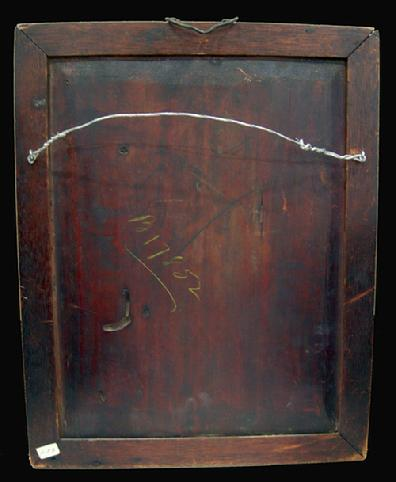 Antique Chinese Reverse Painting on Glass in Original Rosewood Frame/Hanger -1880-1900 - View of the Back