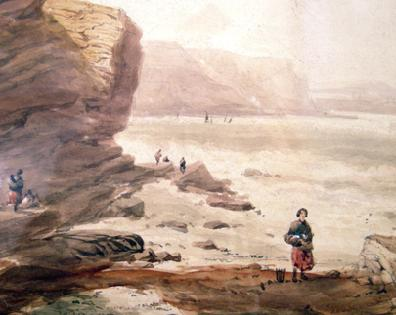 19th c. British School Painting by George Robert Vawser Coastal Scene Closeup 2