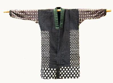 Antique Japanese Hand-sewn Kasuri Patched Cotton Jacket - Front View