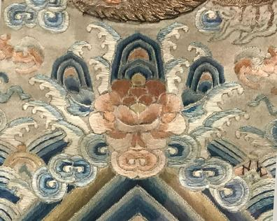 Fine Antique Chinese Hand-Embroidered Silk Framed Dragon Panel - Qing - Closeup View of the Lotus