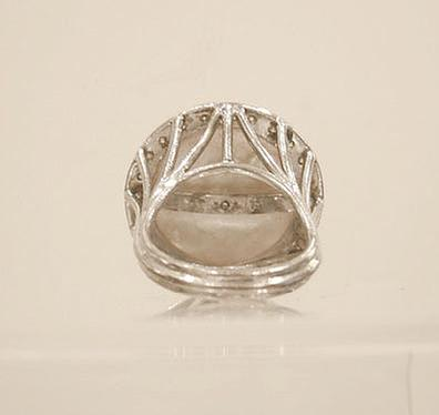 14K WG Mabe Pealr and Diamond Dinner Ring - Interior View