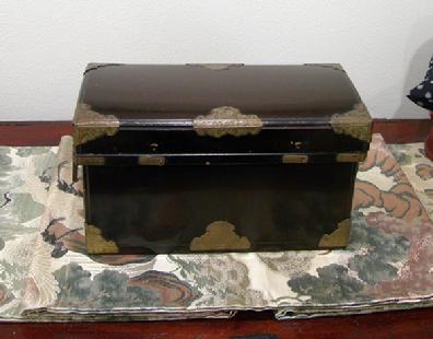 Antique Japanese Black Lacquer Nagamochi (Dowry Trunk) with Brass Mounts - Reverse View