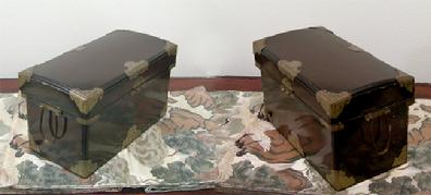 Antique Japanese Black Lacquer Nagamochi (Dowry Trunk) with Brass Mounts - Left and Right Views