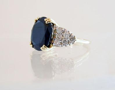 Vintage 14K Yellow Gold Sapphire/Diamond Ring - Estate - Side View
