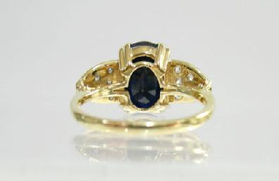 Vintage 14K Yellow Gold Sapphire/Diamond Ring - Estate - Reverse View