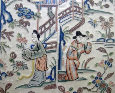 Pair Antique Chinese Embroidered Sleevebands in Bamboo Frame - Two Figures Closeup