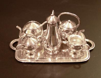 Miniature Sterling 10-Piece Teaset and Tray