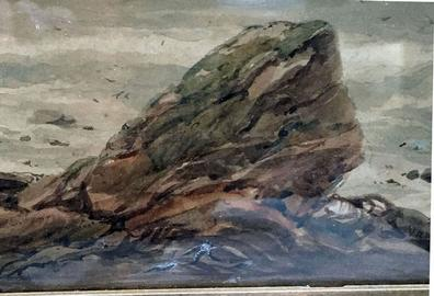 Antique Watercolour Painting of a Coastal Scene by George Robert Vawser - c. 1830's-40's in Original Decorative Gilt Frame - View of Rocks