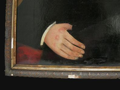 Antique Folk Art Self-Portrait Oil Painting - 1854 - J. Vick - Closeup View of Hand and Frame