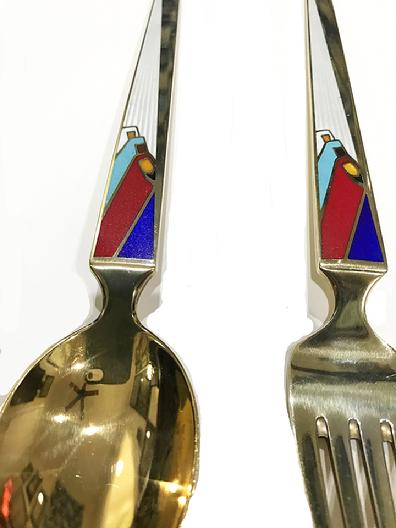 A. Michelsen Sterling Silver/Enamel Christmas Fork and Spoon-Wise Men From the East-1958-Closeup View
