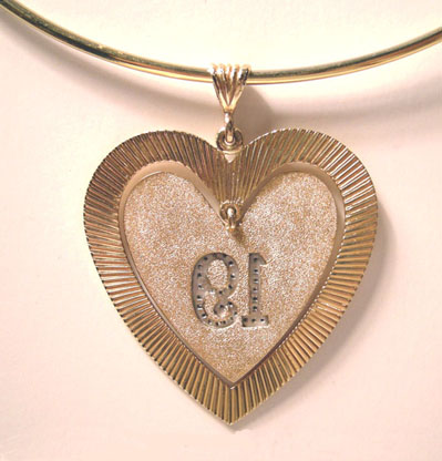 Fabulous Large 18K YG/ Diamond Double Heart Pendant/Charm -  The number '19' in diamonds  - 1960's  - Reverse View