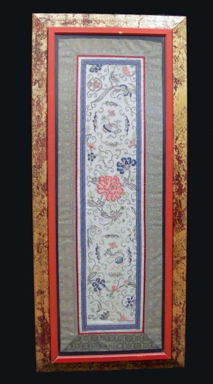 Beautiful Antique Chinese Silk Enbroidered Panel - Qing - Framed with Double Wood Frame