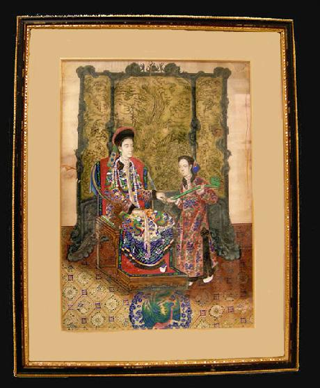 Antique Chinese Export Painting on Paper Dowager Empress Cixi