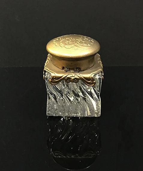 Antique Art Nouveau Covered Swirled Glass and Gilt Metal Inkwell with Hinged Lid - c. 1900 - Reverse View
