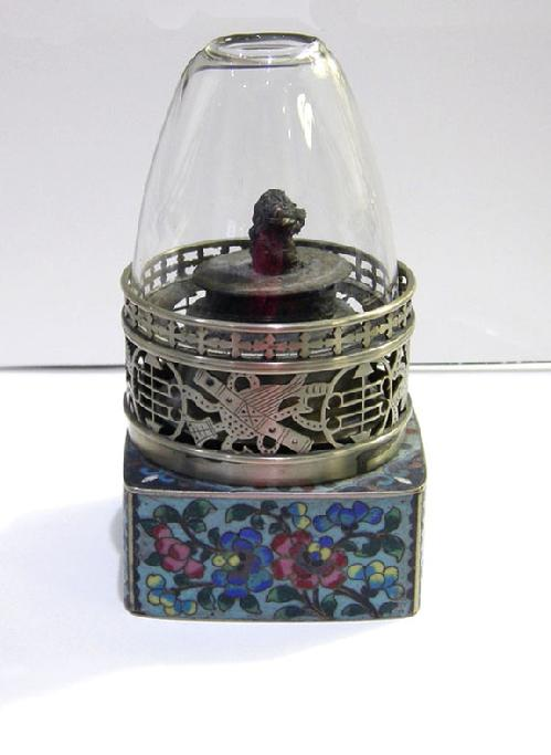 Fine Antique Chinese Floral Cloisonne and Paktong Opium Lamp - Qing