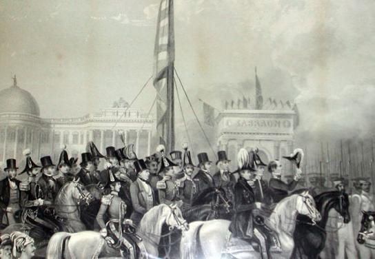British School Engraving entitled 'TRIUMPHAL RECEPTION OF THE SEIKH GUNS' Closeup Middle
