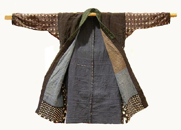 Antique Japanese Hand-sewn Kasuri Patched Cotton Jacket - Open View