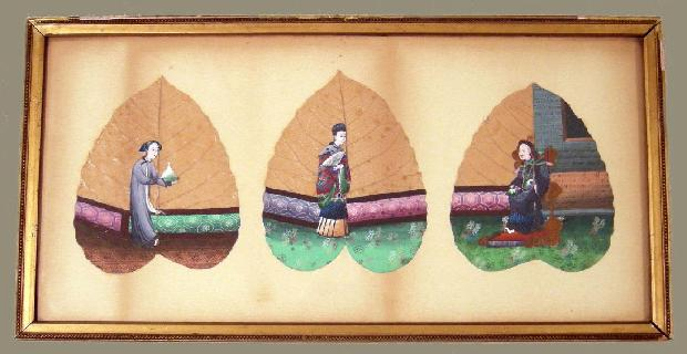 Antique Chinese Export Leaf Paintings- Three Leaves Framed