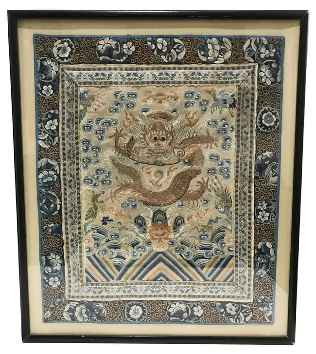 Fine Antique Chinese Hand-Embroidered Silk Framed Dragon Panel - Qing - Framed